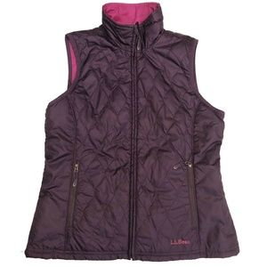 LL Bean Womens Puffer Jacket Reversible Vest Small